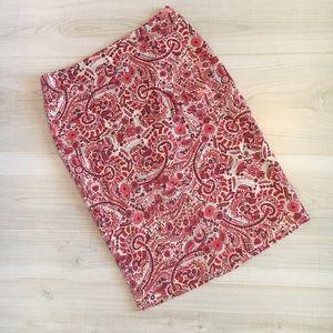 Loft pink red paisley pencil skirt